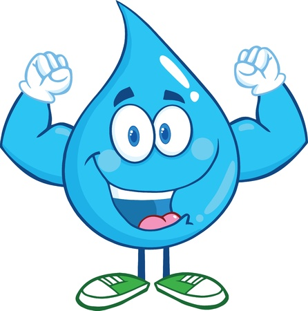 Water Drop Cartoon Mascot Character Showing Muscle Arms Vettoriali