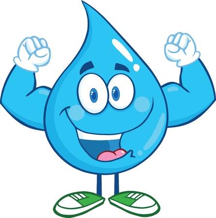 Water Drop Cartoon Mascot Karakter Resultaat Muscle Arms Stock Illustratie