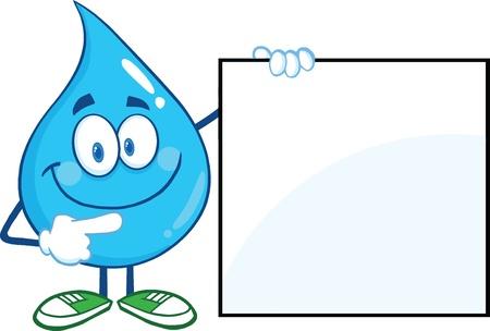 Water Drop Cartoon Mascot Karakter Met Een Leeg Teken Stock Illustratie
