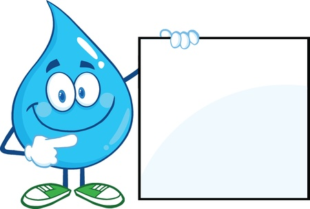 Water Drop Cartoon Mascot Character Showing A Blank Sign Illustration