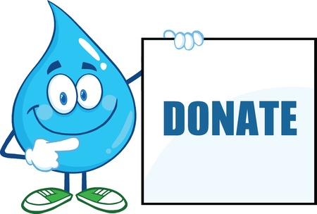 water: Water Drop Cartoon Mascot Character Showing A Blank Sign With Text
