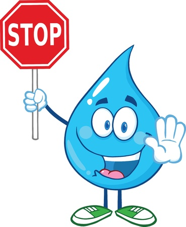 Water Drop Cartoon mascotte karakter houden een stopbord
