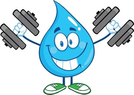 Glimlachen Water Drop Cartoon Mascot Karakter Training met halters