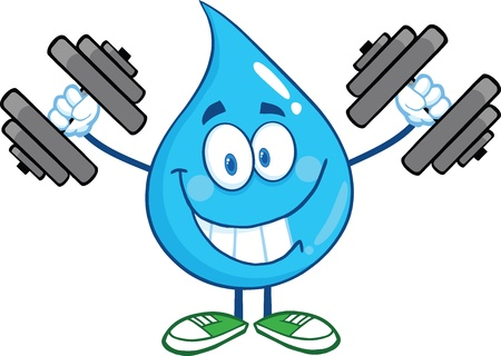 Smiling Water Drop Cartoon Mascot Character Training With Dumbbells Vettoriali