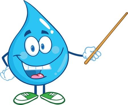 regentropfen: Water Drop Charakter mit einem Zeiger