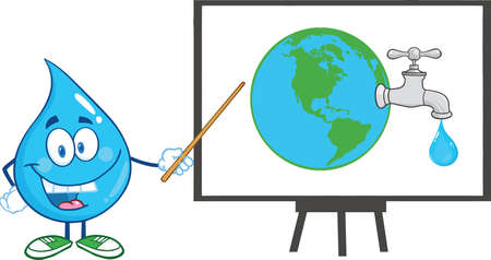 faucet water: Water Drop Character With Pointer Presenting On A Board Earth Globe