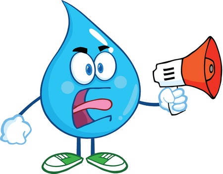 Angry Water Drop Karakter Screaming in Megafoon