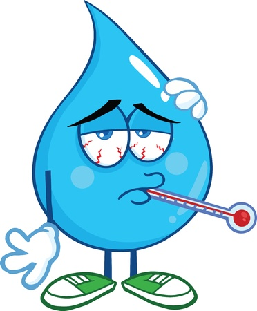 Sick Water Drop Character With Thermometer Vector