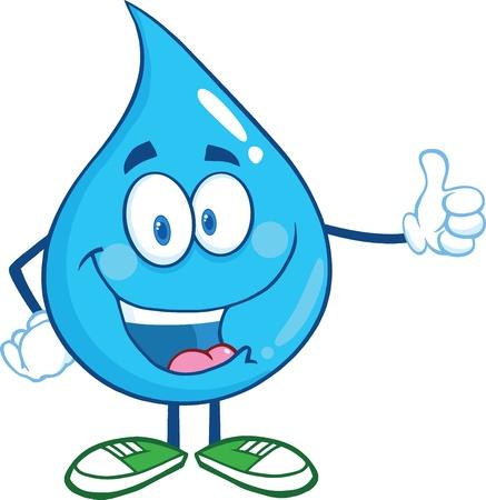 kropla deszczu: Szczęśliwa postaci kropli wody podając kciuk w górę Ilustracja