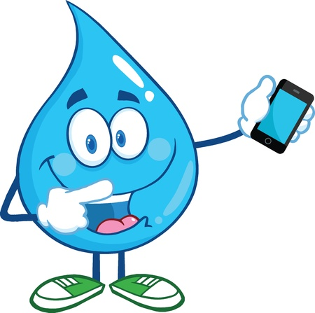 Water Drop Karakter Wijzend naar een mobiele telefoon Stock Illustratie
