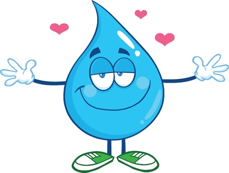 Smiling Water Drop Character With Open Arms For Hugging