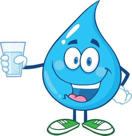 WATER GLASS: Goccia d'acqua personaggio che tiene un bicchiere di acqua Vettoriali