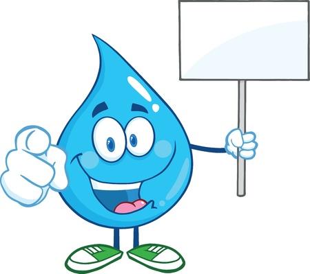 Water Drop karakter houden een leeg bord Stock Illustratie