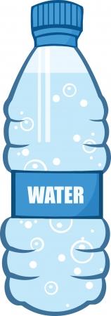botella de plastico: Botella de agua de la historieta