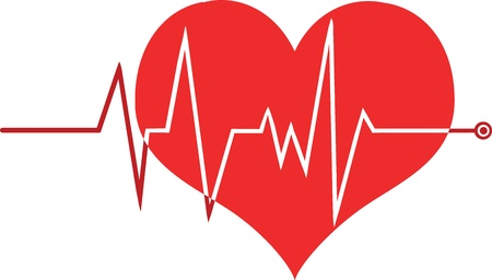 Ecg Graph On Red Heart Stock Vector - 21424538
