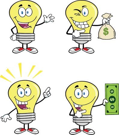 Yellow Light Bulb Cartoon Characters Иллюстрация
