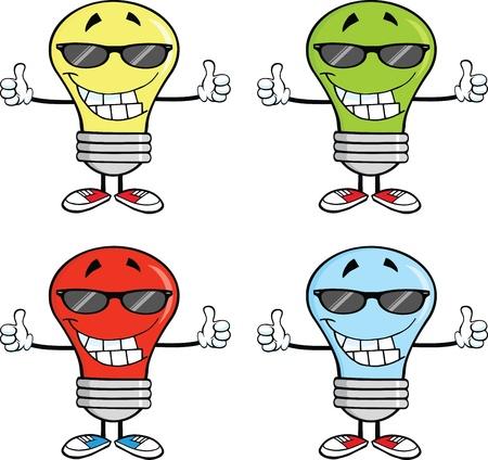 Light Bulbs Cartoon Characters  Set  Vector