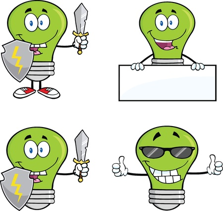 Green Light Bulbs Cartoon Characters  Set  Vector