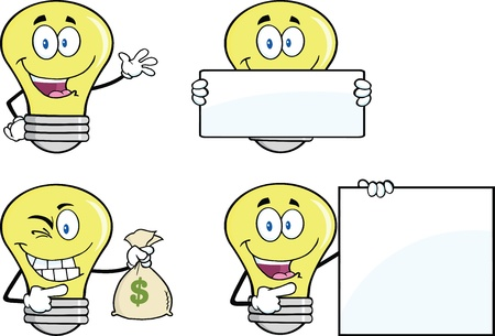 Yellow Light Bulb Cartoon Characters  Set Vector