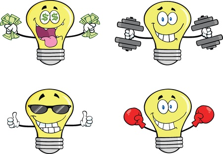 Yellow Light Bulb Cartoon Characters   Vector