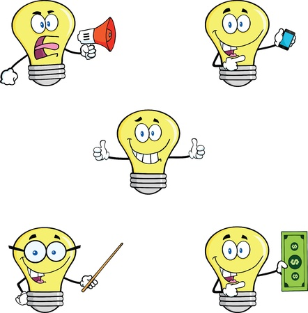 Yellow Light Bulb Cartoon Characters  Set Stock Vector - 21491885