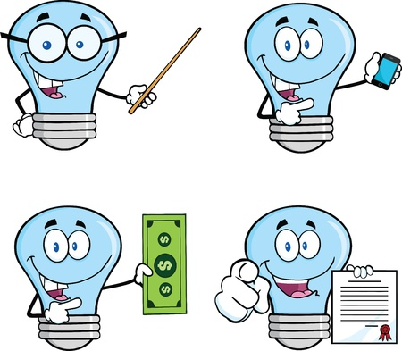 waving: Blue Light Bulb Cartoon Characters   Illustration