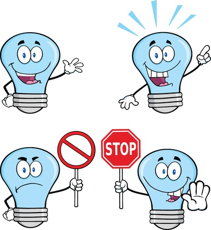Blue Light Bulb Cartoon Characters   Illustration