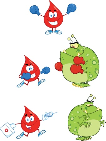 Blood Drop vs Virus  Set  Vector