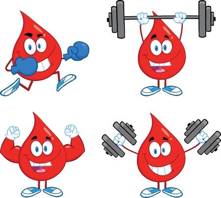 Blood Drop Cartoon Mascot Characters  Set  Ilustração