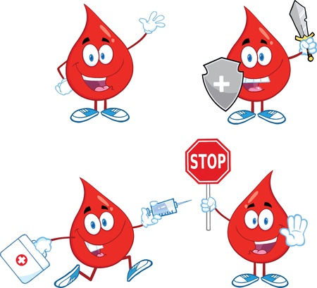transfusion: Blood Drop Cartoon Mascot Characters  Set  Illustration