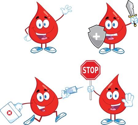 donating: Blood Drop Cartoon Mascot Characters  Set  Illustration