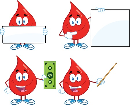 transfusion: Blood Drop Cartoon Mascot Characters  Set