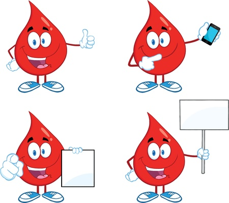 blood donation: Blood Drop Cartoon Mascot Characters  Set