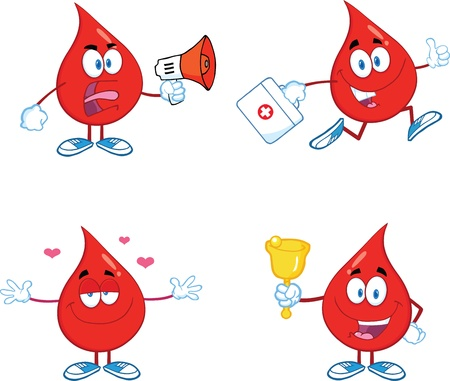 Blood Drop Cartoon Mascot Characters  Set  Vector