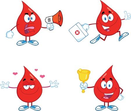 blood drop: Blood Drop Cartoon Mascot Characters  Set  Illustration