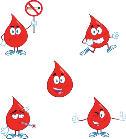 donating: Blood Drop Cartoon Mascot Characters  Set