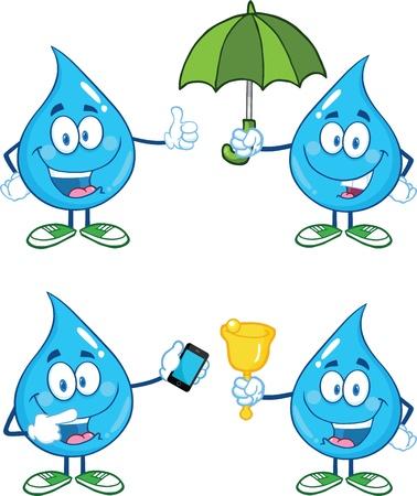 cartoon umbrella: Water Drop Cartoon Mascot Characters  Set