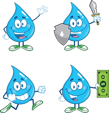 Water Drop Cartoon Mascot Characters  Set Stock fotó - 21491920