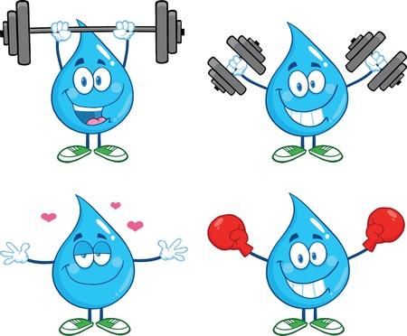 Water Drop Cartoon Mascot Characters  Set