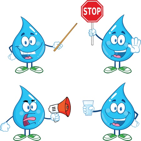 Water Drop-Karikatur-Maskottchen Charaktere Set Illustration