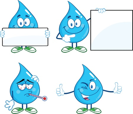 Water Drop Cartoon Mascot Characters  Set
