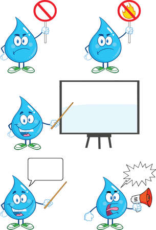 Water Drop Cartoon Mascot Characters  Set  Vector