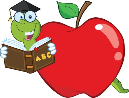 apple worm: Happy Worm In Red Apple Reading A School Book