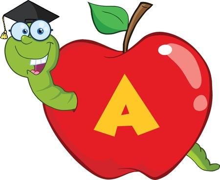 lombriz: Gusano Feliz En La Manzana Roja Con Graduate Cap, vasos y Leterme A