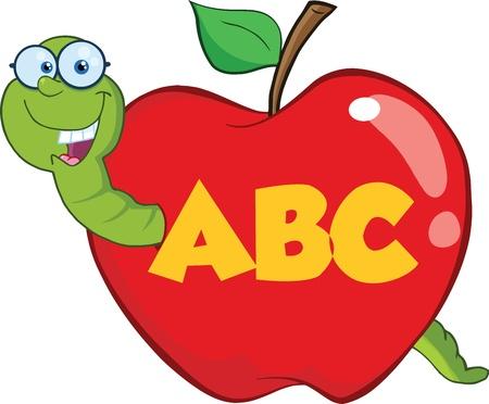 gusano caricatura: Gusano Feliz En La Manzana Roja Con Los Vidrios Y Leterme ABC