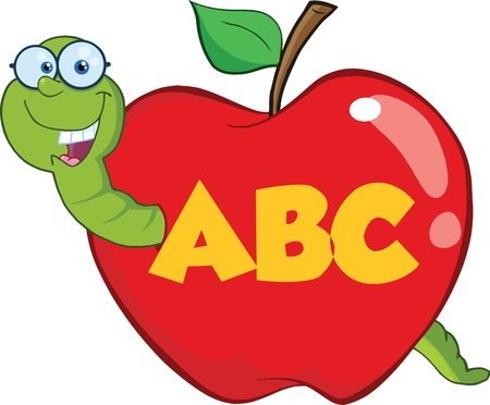 worm cartoon: Happy Worm In Red Apple With Glasses And Leter ABC Illustration