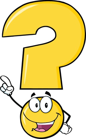 Happy Yellow Question Mark Cartoon Character Pointing With Finger Illustration