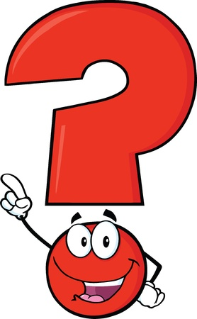 concentrate: Happy Red Question Mark Cartoon Character Pointing With Finger