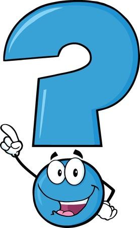 interrogativa: Feliz Signo de interrogación azul de dibujos animados apuntando con el dedo Vectores