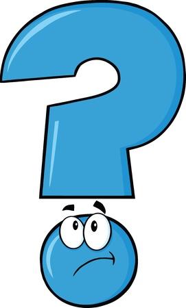 facial gestures: Signo de interrogaci�n azul Cartoon Character Pensamiento Vectores